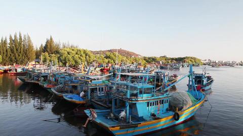 Fishing boats near the shore Footage