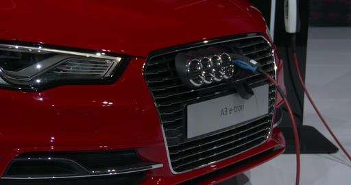 Detail Of Audi A3 E-tron At The New York Auto Show stock footage