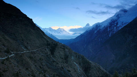 Timelapse sunrise in the mountains Everest (8848м Footage