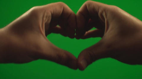 Hands Making A Heart On A Green Screen, Chroma, Ke Footage