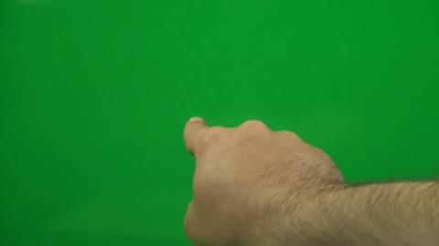 Hand Pointing Finger At A Green Screen, Chroma, Ke Footage