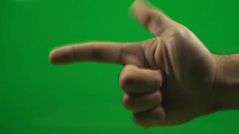 Hand Making The Gun Sign On A Green Screen, Chroma Footage