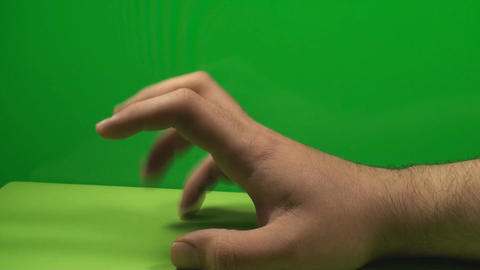 Hand Taping While Waiting On A Green Screen, Chrom stock footage