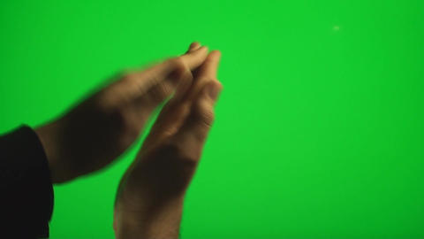 Hands Clapping On The Side On A Green Screen, Chro Footage