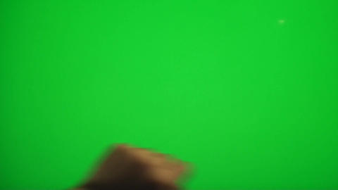 Hand Making Coloring Gestures On A Green Screen, C Footage