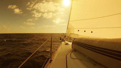 Sailing Yacht In The Sea At Sunset stock footage