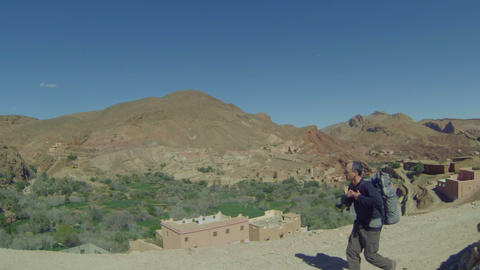 FT 0059 Backpacker In Atlas Mountains Go Pro 24 P stock footage