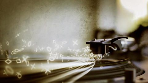 Turntable generating drum notes and light streaks Animation
