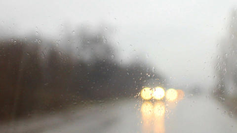 raindrops on a car windshield c Footage