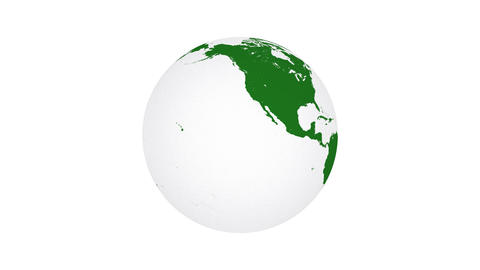 Animation of green spinning planet Earth Animation