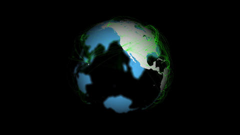 Planet Earth with green connections Animation