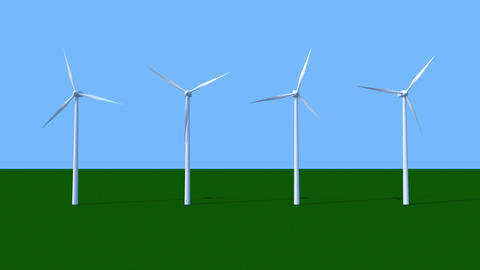 Spinning wind power generators Animation