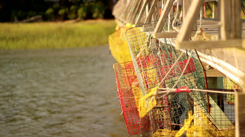 Crab Cages stock footage