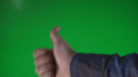 Man Making The Like Gesture On A Green Screen Chro Footage