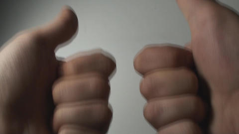 Man's Hands Making The Double Like Gesture, Hands, Footage