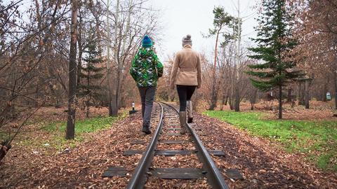 Walk Along The Rails Footage