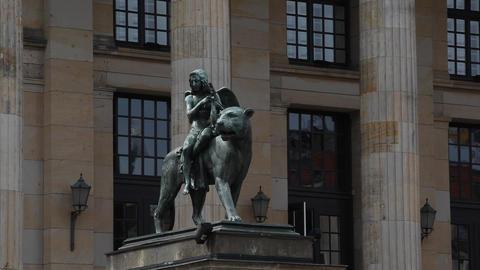 statue of a tiger at Gendarmenmarkt Footage