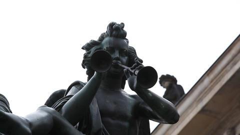 lioness sculpture at Gendarmenmarkt Footage