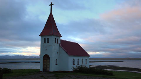 Christian Church From Iceland, Under A Cloudy Sky stock footage