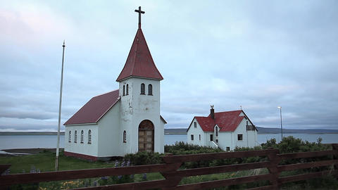 Rural Church And Graveyard In Iceland stock footage