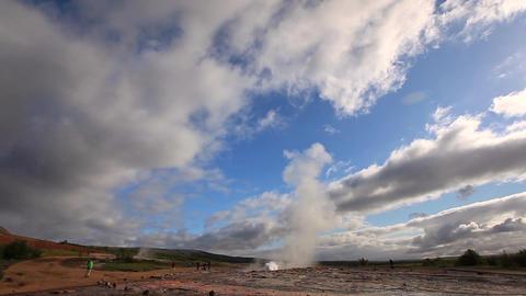 erupting geyser Strokkur in Iceland Footage
