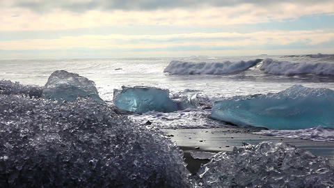 Large chunks of glacial ice at Joekulsarlon Footage