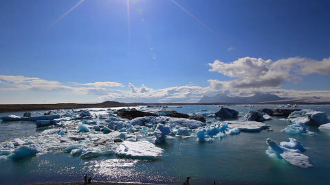 Large Floating Blue Icebergs stock footage