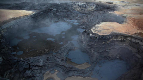 Hot sulphur springs and boiling mud in Hveraroend Footage