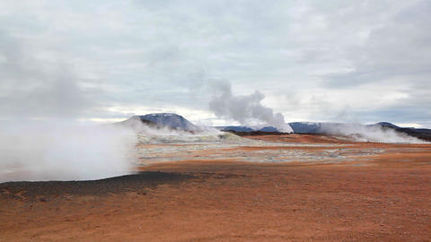 Geothermal landscape in Hveraroend in Iceland Footage