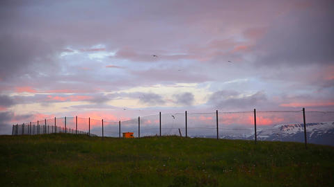 Rural Fence On The Skyline Against A Sunset Sky stock footage