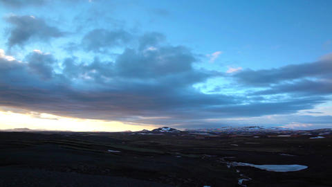 Glowing Icelandic Sunset Under Heavy Cloud stock footage