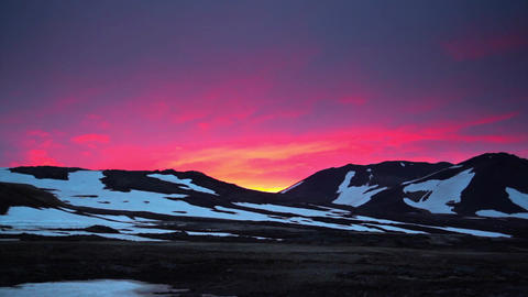 Dramatic fiery sunset in Iceland Live Action