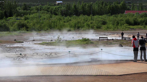Geyser Strokkur before shooting up a column of ste Footage