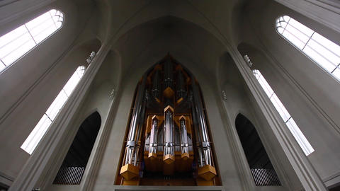 Organ Inside The Hallgrimskirkja In Reykjavik stock footage