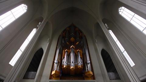 organ inside the Hallgrimskirkja in Reykjavik Footage