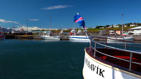 Icelandic flag flying from a boat Footage