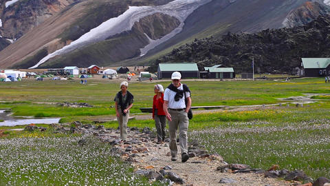 hiking tourists in Landmannalaugar, Iceland Live Action