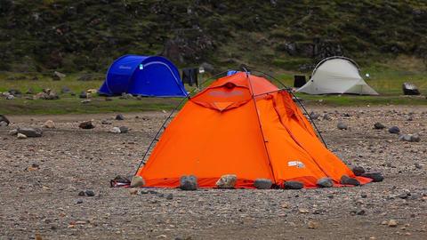 orange tent in Landmannalaugar, Iceland Live Action