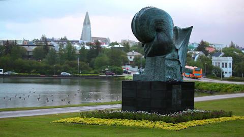 Sculpture By Einar Jonsson stock footage