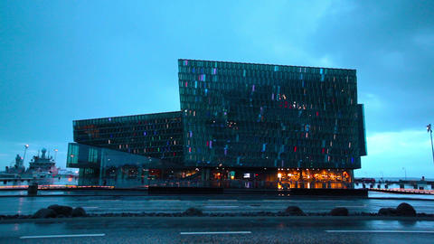 Harpa concert hall in Reykjavik, Iceland Footage