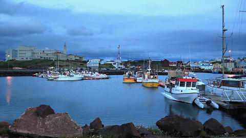 Boats Anchored At A Harbor On Iceland stock footage