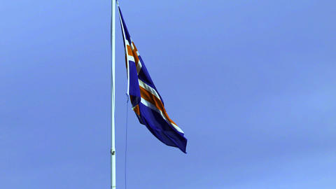 Icelandic flag fluttering in the breeze Live Action