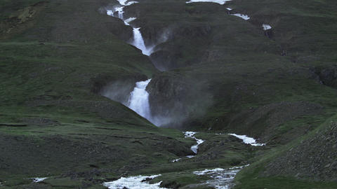 Rushing waterfall in a cloud of spray Footage