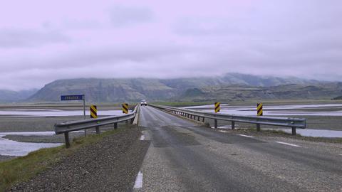 Deserted bridge over wetlands in Austurland Footage