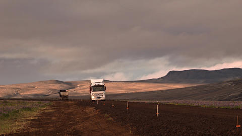 Transport trucks on the road in Iceland Footage