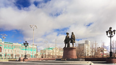 Monument Tatischev and De Genin. Yekaterinburg Rus Footage