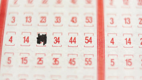 Lottery Ticket Lucky Numbers Macro Stock Video Footage
