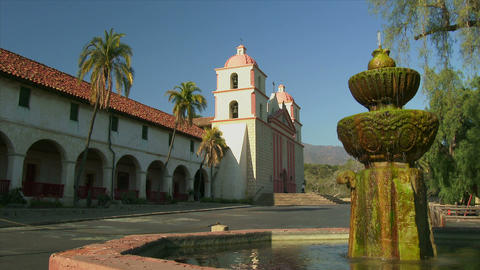 Old Mission Santa Barbara and Water Fountain Footage