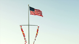 American Flag And Nautical Flags stock footage
