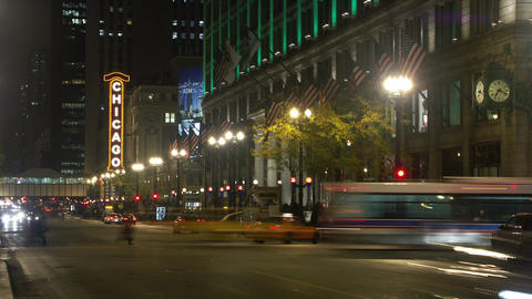 Timelapse Chicago Theater stock footage